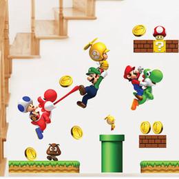 Autoadesivi all'ingrosso del fumetto Adesivi murali Super Mario per le stanze dei bambini Adesivi murali bambini Camera da letto Home Decor