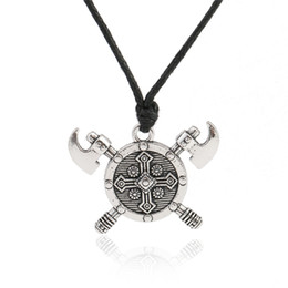 Chinese  Newest Design Viking Axe Barbarian Gladiator Medieval God Jewelry Double Axes Shield Necklace Stainless Jewelry manufacturers