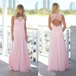 Barato Longo Vestido De Casamento Chiffon Rosa-Custom Made Pink Vestidos de dama de honra Long 2017 barato Chiffon Lace Pavimento Comprimento Oco Back Maid Of Honor Vestidos Formal Wedding Guest Dress