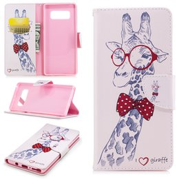 Phone giraffe online shopping - For Samsung Note S8 Plus Cover Painted PU Leather Cases Flip wallet Card Stents holster Giraffe Design Phone Bags