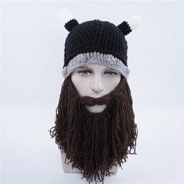 cfd6dfa17f6 50pcs DHL Novelty Men Children Family Handmade Crochet Cartoon Vikings Horn  Hat Bearded Face Mask Xmas horn Father and Child Hat DDB017