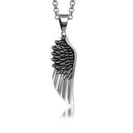 "$enCountryForm.capitalKeyWord UK - Men's vintage angel ""wings"" stainless steel feather pendants fashion personality titanium steel pendant necklaces jewelry accessories"
