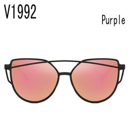 Goggles China NZ - sunglasses for women purple korea oval face case side shields test china wholesale brand retro Uv protection V1992 round faces with box 2017