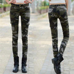 Woman Military Pants Canada - Camouflage slim skinny Pencil Pants female Military Uniform Casual jeans trousers Large Size 34 Cargo Pants Women