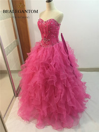 $enCountryForm.capitalKeyWord NZ - 2017 Fashion Pink Crystal Ball Gown Quinceanera Dresses with Sequined Organza Plus Size Sweet 16 Dresses Vestido Debutante Gowns BQ22