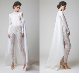 Wholesale nylon summer jacket for sale - Group buy 2020 New White Evening Dresses Two Pieces Chiffon Lace Pearl Trousers See Through Long Sleeves Elio Abou Fayssal Evening Gowns With Jacket