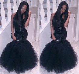 Robes Sexy Pas Cher-2017 New Little Black Prom Robes Mermaid Sequined Halter Neck Puffy Tulle Long Fashion Couples 2K17 Tapis Rouge Evening Gowns