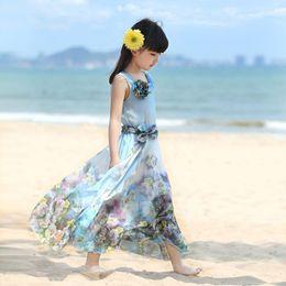 71a6e38ae027 2016 Summer Girl Bohemian Flower Chiffon Beach Dresses Children Kids Outfit  vestidos Princess Party Maxi Long Dress For Girls Z1