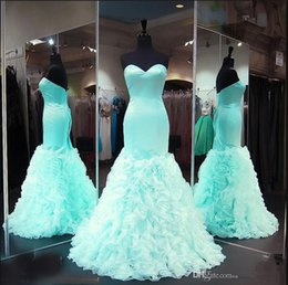 Robe De Bal À La Menthe Pas Cher-Robes de soirée aigues Mint Green Plus Size Sexy Mermaid Sweetheart Cascading Ruffles Long Prom Gowns Party Custom Made