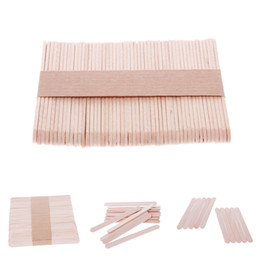 Kids Craft Making UK - 50Pcs Ice Cream Stick New Wooden Popsicle Stick Kids Hand Crafts Art Ice Cream Lolly Cake DIY Making Funny