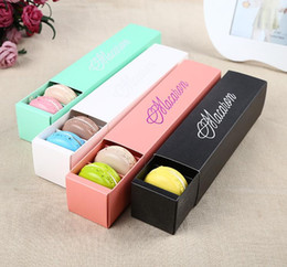 $enCountryForm.capitalKeyWord Australia - Macaron Box Cake Boxes Home Made Macaron Chocolate Boxes Biscuit Muffin Box Retail Paper Packaging 20.3*5.3*5.3cm Black Pink Green White