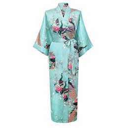 12a9854a32 Wholesale- Hot Sale Sky Blue Femmes Rayon Robes Gown Kimono Yukata Chinese  Women Sexy Lingerie Flower Sleepwear Plus SizeS M L XL XXL XXXL