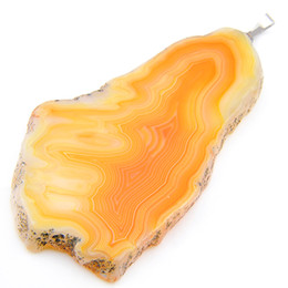 Fire agate wholesale online shopping - 10 LuckyShine Excellent Fire Natural Yellow Agate Slape Geode Gems Sterling Silver Wedding Pendants for Necklaces Friend Gift