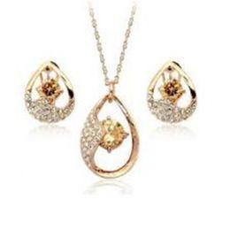 Fashion jewelry sets online shopping - DHL Drop Zircon Pendants Necklace Stud Earrings Drop Jewelry Sets Women Fashion Crystal Jewelry for Girls Xmas Gift