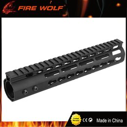 "China FIRE WOLF 10"" inch Free Float NSR KeyMod Handguard Mount Bracket with Detachable Rail BLACK Barrel Nut For AR-15 M4 M16 cheap m16 rails suppliers"