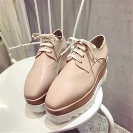 Venta al por mayor de Roma Black Nude Stella MC Zapatos Mujer Plataforma Elyse Wedge Britt Zapatos con cordones Cuero genuino Low-top Ladies Casual Shoes