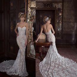 $enCountryForm.capitalKeyWord Australia - Sexy 2019 Mermaid Wedding Dresses Sweetheart Neckline Appliques Lace Beaded Sash Wedding Dress Sweep Length Backless Bridal Gowns