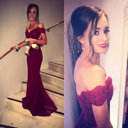 fancy prom dresses Australia - Burgundy Prom Dresses Fancy New Off Shoulder Fiesta Lace Bodice Cap Sleeves Formal Evening Dresses Backless Cheap Bridesmaid Gown C211