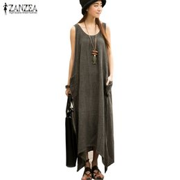 1b43b3474930 Wholesale- Newest ZANZEA 2017 Summer Women Casual Loose Sleeveless Vintage  Long Maxi Dress Irregular Party Dresses Vestidos