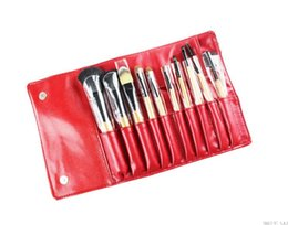 $enCountryForm.capitalKeyWord NZ - 10 PCS Cosmetic Facial Make up Brush Kit Professional Wool Makeup Brushes Tools Set with Black Leather Case TOP Quality!