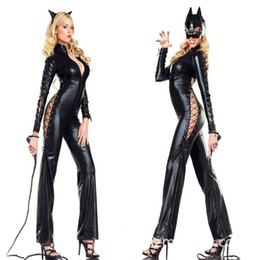 Barato Couro Poliéster Atacado-Atacado Sexy Catwoman Faux Leather Jumpsuit Halloween Evil Animal Cosplay Catsuit Masquerade Cat Traje Bat Outfits