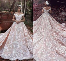 Robe Modeste Robe De Mariée Pas Cher-Modest Said Mhamad Blush Robes De Mariée En Dentelle Rose D'épaule Train Chaple Backless Robes De Mariée Formal Arabes Femmes 2017 Vestidos De