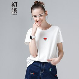 T-shirts À Col En Gros Pas Cher-Vente en gros- Toyouth 2017 Summer New Arrival Femmes T-Shirts en coton O-Neck Collar Watermelon Imprimer Short Sleeve Casual T-Shirts All Match Base