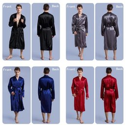 $enCountryForm.capitalKeyWord NZ - 30pcs 4 colors Fashion men's Solid Silk Kimono Robe for Bridesmaids Wedding Party Night Gown Pajamas M026