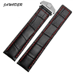 Tags Heuer Canada - JAWODER Watchband 20 22mm Black Fiber crocodile pattern Genuine Leather watch band strap Stainless steel deployment buckle for TAG