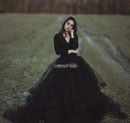 Simple Gothic Gowns Canada - Modest Black Country Wedding Dresses Ball Gown V Neck Long Sleeve Puffy Tutu 2017 Cheap Simple Gothic Bridal Garden Outdoor Wedding Gowns