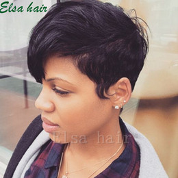 hair hairstyle Canada - Fashion style Cheap 100% human hair wigs cut pixie hairstyle for black women glueless None full lace front short human hair wigs