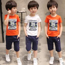 2018 Nueva ropa para niños Niños y niñas Summer T-shirt Shorts Sports Suit Set Niños Boy Baby Kids Uniforme escolar de moda Outfit en venta