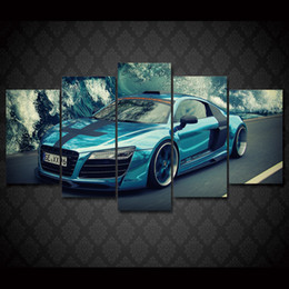 Discount free car posters - 5 Pcs Set Framed HD Printed Blue car landscape Group Painting Canvas Print room decor print poster picture canvas Free s