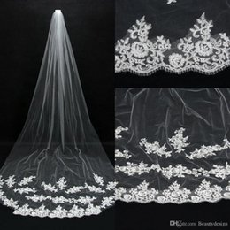 Wholesale Cheap Romantic Hot Real Image Wedding Veils Ivory Lace Applique Tulle Bridal Veils Long Chapel Train In Stock Bridal Accessories CPA067