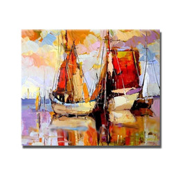 hand painted pictures Australia - Abstract Sailboat for Sitting Room Decoration Hand Painted Oil Painting Home Decor Wall Pictures Modern Canvas Art No Framed