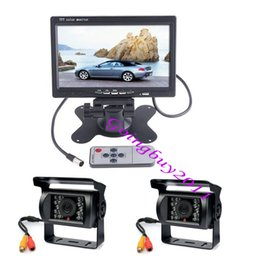 "bus rear view camera NZ - 2x Waterproof 18 LED IR Car Reversing Camera + 7"" LCD Monitor Car Rear View Kit for long bus Truck & 2x 10m video cable 10pcs lot"