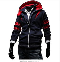 Barato Estilo Assassino Atacado-Wholesale-Patchwork Double Deck Design Men Hoodies Assassins Creed Sweatshirt Casual Street Style Cardigan Moda Man Tracksuit