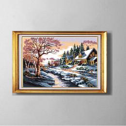 Snowscape, europa diy kit ponto cruz, bordado conjunto bordado, contados impressos em lona dmc 11ct 14ct, neve inverno cenário de parede casa decoração venda por atacado
