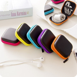 Plastic Carrying Hard Case NZ - Square Headphones Earphone Cable Earbuds Storage Hard Case Carrying Pouch bag SD Card Hold Box DHL Shipping Free