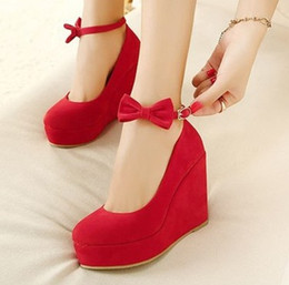 Bull Women Canada - 2017the new red wedding shoes New Jersey wedge heel the bottom of the bull-band bowknot women shoe335