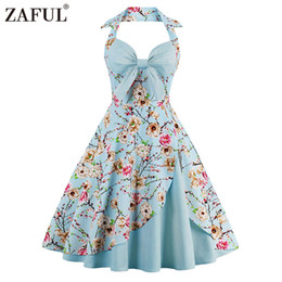 EmpirE pin online shopping - ZAFUL New Women Vintage Dress Plus Size Floral Print Pin Up Halter Summer Dresses Retro s Rockabilly Party Feminino Vestidos
