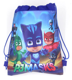 China 36pcs Cartoon PJMASKS Draw string Bag Non-Woven Drawstring Bag Kids Backpacks Birthday Theme Gift Bags Travel Storage Bags suppliers