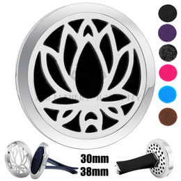 $enCountryForm.capitalKeyWord NZ - Hot Sale Silver Lotus (30-38mm) Magnet Diffuser Car aromatherapy Locket Free Pads Essential Oil 316 Stainless Steel Car Diffuser Lockets