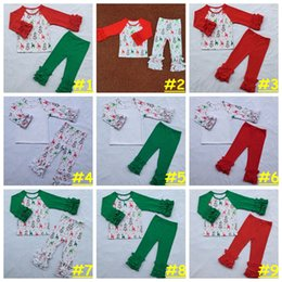 Pantalon De Ruffle De Noël Pas Cher-Kids Girl Ensemble de Noël Baby girl À la maison Ensembles Autumn Winter Moose Snowflake pattern cloth Ruffle Raglan Shirts pants 9styles