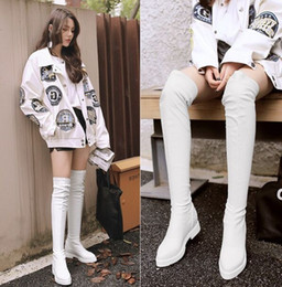 $enCountryForm.capitalKeyWord Canada - Wholesale-New Arrival Hot Sale Specials Super Fashion Influx Cheap Wool Tip Elastic PU Leather Winter Rivets Knight Heels Knee Boots EU34-39