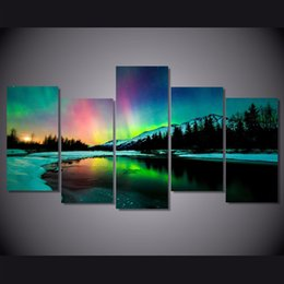 lighted canvas art Canada - 5 Pcs Set Framed HD Printed Snow Mountain Lights Picture Wall Art Canvas Print Room Decor Poster Canvas Painting Wall