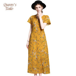 Robe En Mousseline De Soie Florale Jaune Pas Cher-Queen's Tailo Fashion Short Sleeve Femme Floral imprimé Chiffon Jaune Long Casual Beach Dress 6242 q170661