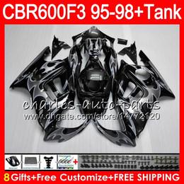 $enCountryForm.capitalKeyWord Canada - 8 Gifts 23 Colors For HONDA CBR600F3 95 96 97 98 CBR600RR FS 2HM9 silver flames CBR600 F3 600F3 CBR 600 F3 1995 1996 1997 1998 black Fairing