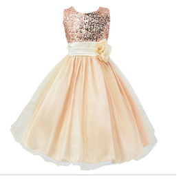 Wholesale 2017 New Children Party Dresses Baby Girls Sequinned Polyester Dresses With Flower Kids Wedding Bridesmaid Dress