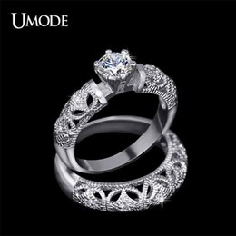 Carving For Wedding Gift NZ - UMODE 0.75 ct AAA+ Grade Round Zirconia Ring Fine Carving Craft Wedding Filigree Ring Set for Women Christmas Gift Anel UR0130